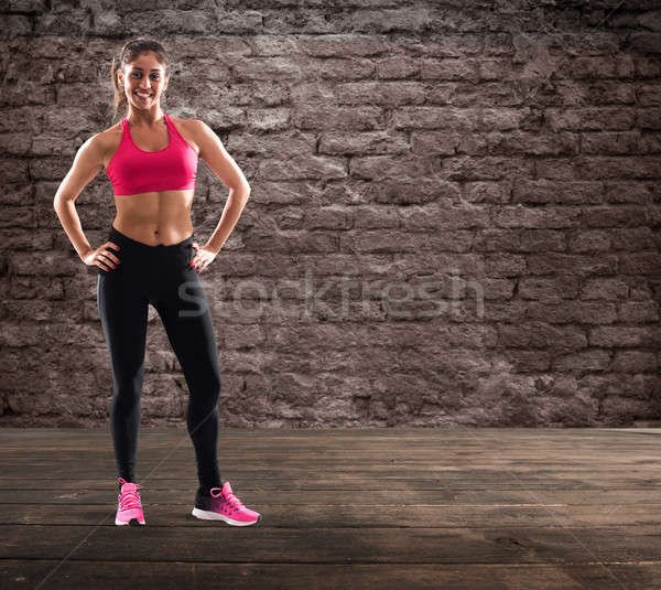 Determinated girl at the gym ready to start fitness lesson Stock photo © alphaspirit