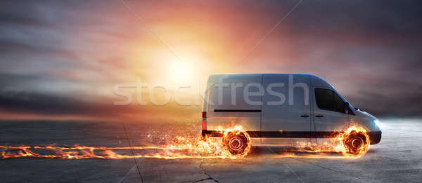 Süper hızlı teslim paket hizmet kamyonet Stok fotoğraf © alphaspirit