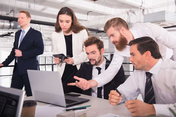 Business people in office connected on internet network. concept of startup company Stock photo © alphaspirit