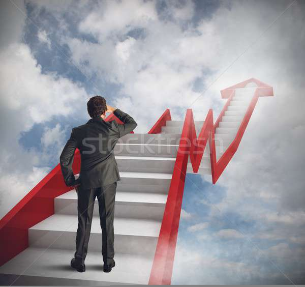 Statistisch hemel man trap business financieren Stockfoto © alphaspirit