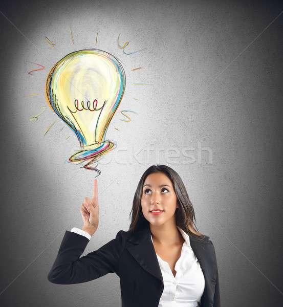 Zakenvrouw idee werk vrouw technologie baan Stockfoto © alphaspirit