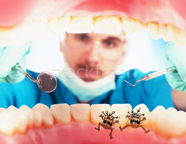 Patient with caries germs Stock photo © alphaspirit