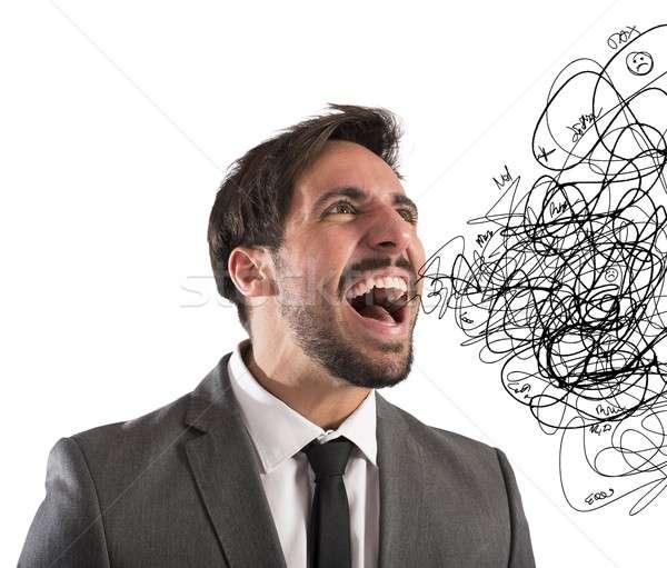 Stressed businessman screams Stock photo © alphaspirit