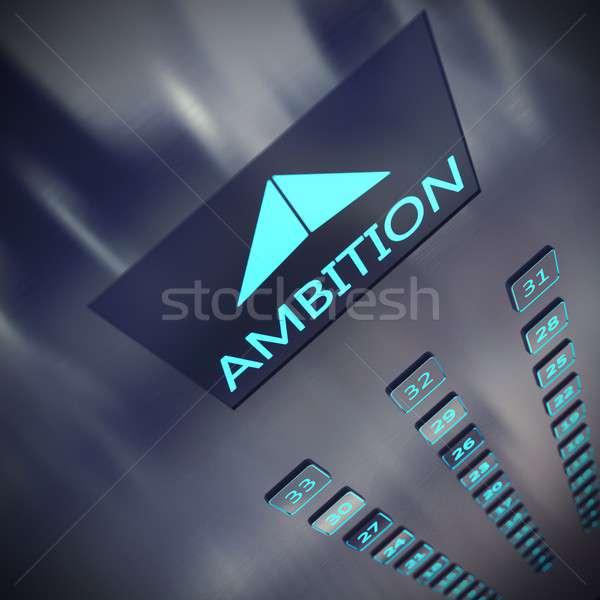 3D レンダリング 野心 エレベーター 書かれた ビジネス ストックフォト © alphaspirit