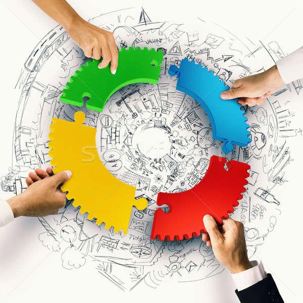 Travail d'équipe intégration pièces de puzzle engins 3D Photo stock © alphaspirit