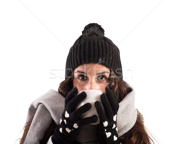 Warm up with a hot cup in winter Stock photo © alphaspirit