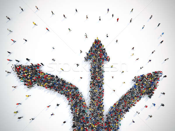 Mensen kiezen richting verwarring 3D Stockfoto © alphaspirit