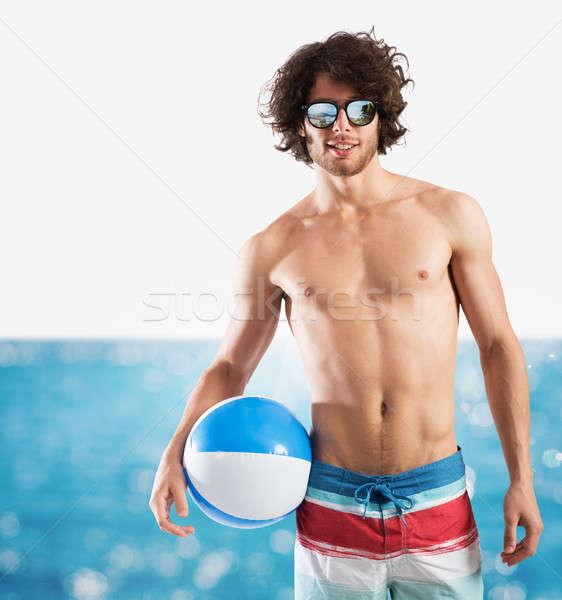 Foto stock: Menino · mar · sensual · bola · água · homem