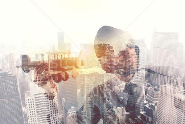 Empresário jogar aeronave startup novo Foto stock © alphaspirit