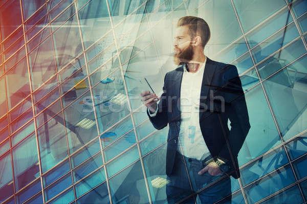 Foto stock: Empresario · lejos · futuro · innovación · inicio