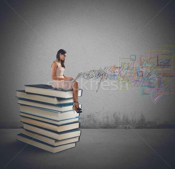 Laptop and books Stock photo © alphaspirit