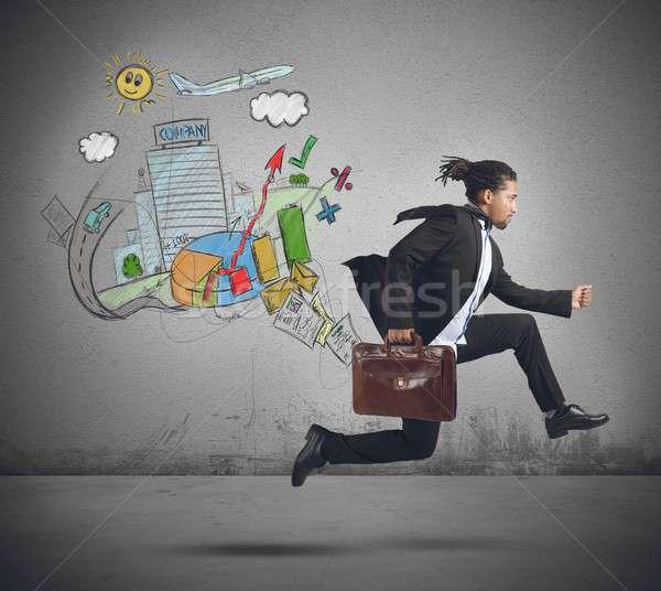Empresário sempre mundo trabalhar homem Foto stock © alphaspirit