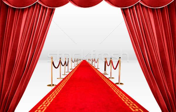Piros szőnyeg függöny végtelen szoba színház Stock fotó © alphaspirit