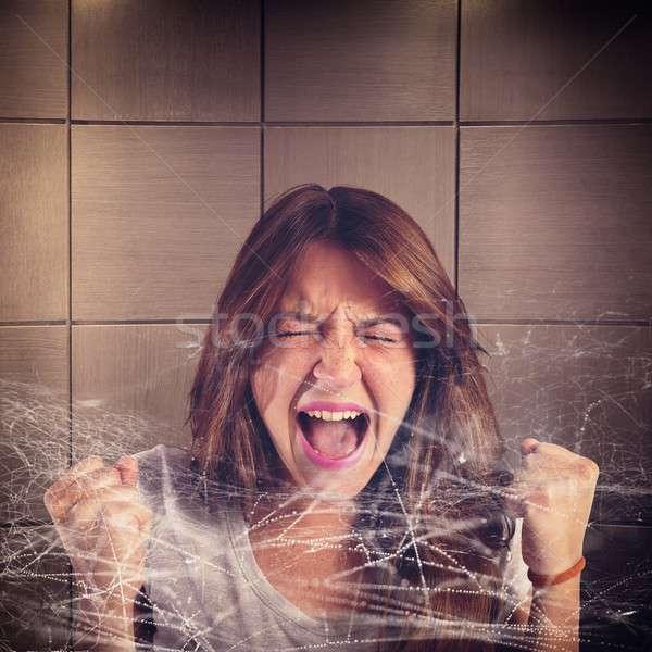 Csapdába esett lány sikít pókháló háló segítség Stock fotó © alphaspirit