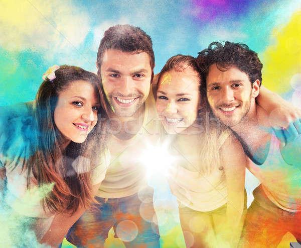 Colourful friends Stock photo © alphaspirit