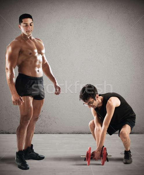 Gym instructor mockingly Stock photo © alphaspirit