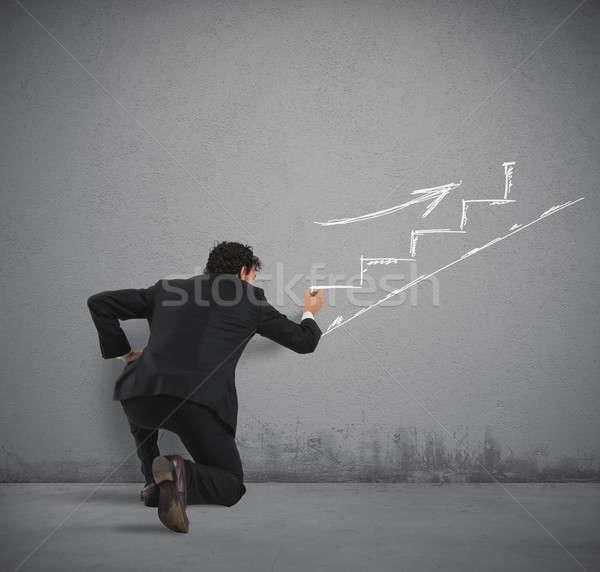 ビルド キャリア ビジネスマン 図面 規模 ストックフォト © alphaspirit