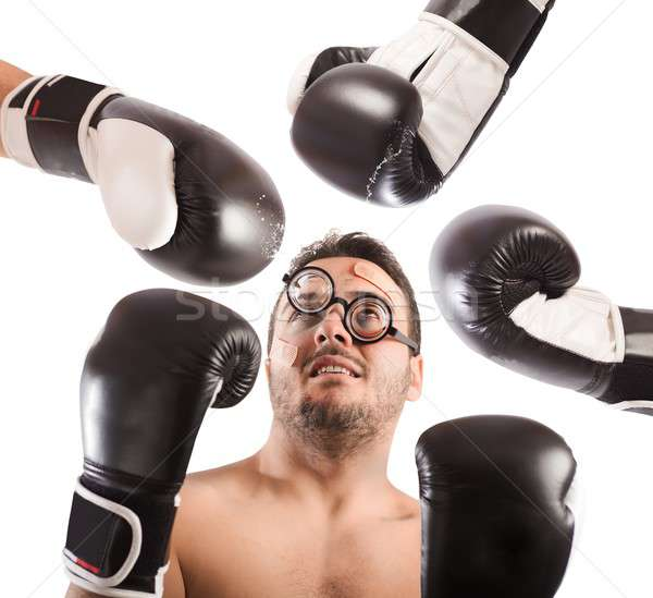 Vesztes boxoló sok erős férfi üveg Stock fotó © alphaspirit