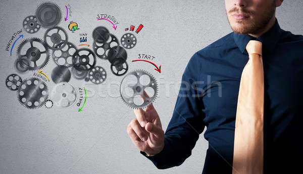 Analysis project with gears mechanism Stock photo © alphaspirit