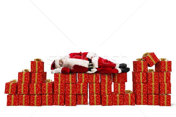 Stressz karácsony ajándékok mikulás alszik karácsony Stock fotó © alphaspirit
