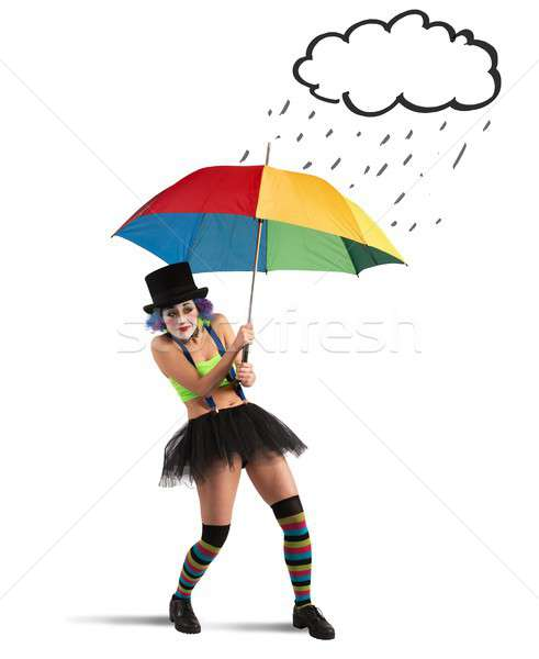 Rainbow parapluie fille pluie art théâtre Photo stock © alphaspirit
