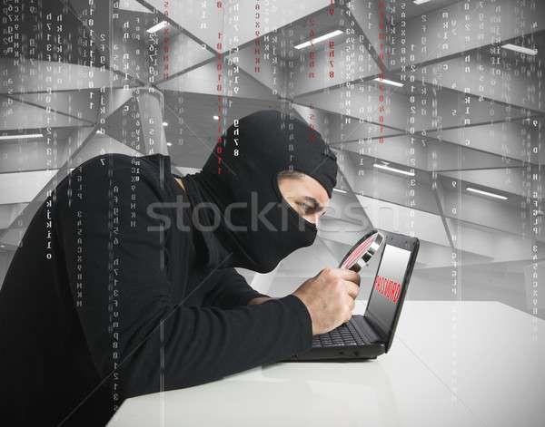 Hacker wachtwoord kijken laptop business technologie Stockfoto © alphaspirit