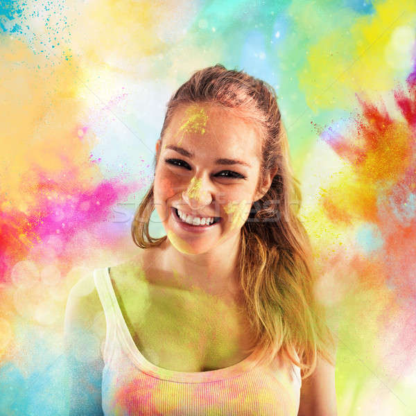 Joy colored powders Stock photo © alphaspirit