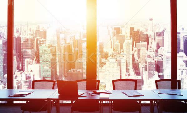 Modernes bureau vue sunrise gratte-ciel Photo stock © alphaspirit