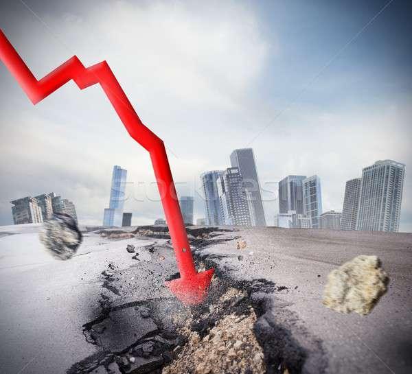Criza mare rupe economic financiar prăbuşi Imagine de stoc © alphaspirit