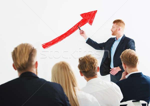 ビジネスマン ポジティブ 統計 会社 訓練 会議 ストックフォト © alphaspirit
