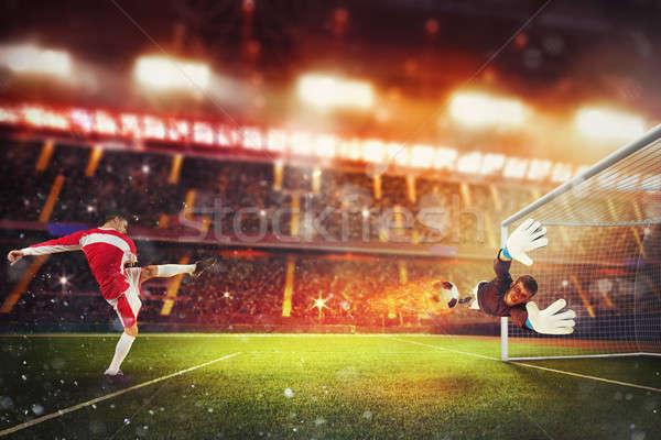 Voetbal bal genoeg macht brand voetbal Stockfoto © alphaspirit
