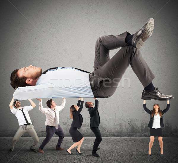 Ondersteuning team inspanning mannen vrouwen groot Stockfoto © alphaspirit