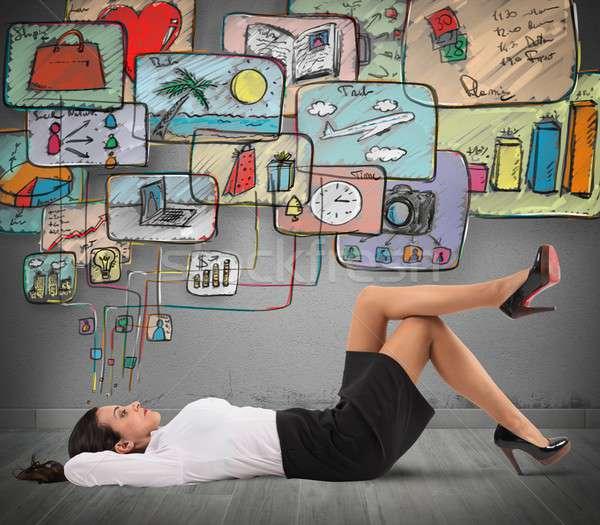 Zdaniem życia organizacja kobieta interesu myślenia zorganizować Zdjęcia stock © alphaspirit