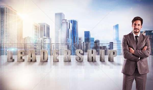 リーダーシップ 表示 書かれた テラス 超高層ビル ビジネス ストックフォト © alphaspirit