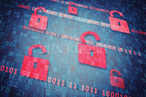 Seguridad candado abierto rojo ordenador Internet Foto stock © alphaspirit