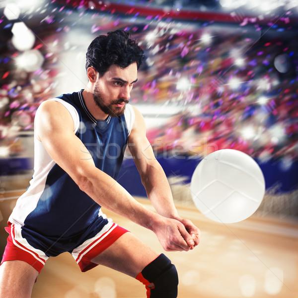 Volleybal speler bal man team spelen Stockfoto © alphaspirit