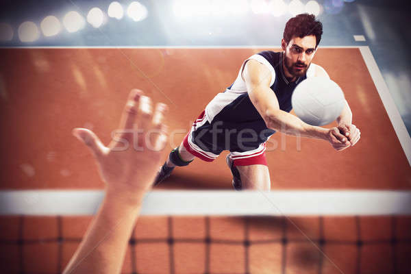Volleyball player in action Stock photo © alphaspirit