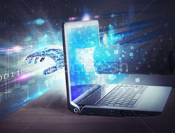 Belépés virtuális világ képernyő kéz internet Stock fotó © alphaspirit