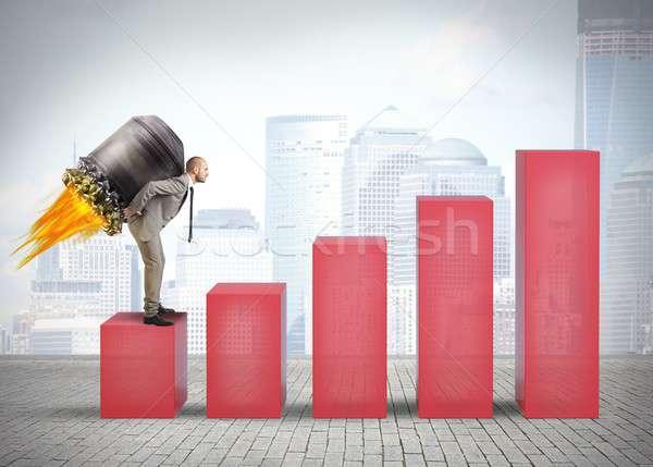 üzletember határozott hamar statisztika pénz férfi Stock fotó © alphaspirit