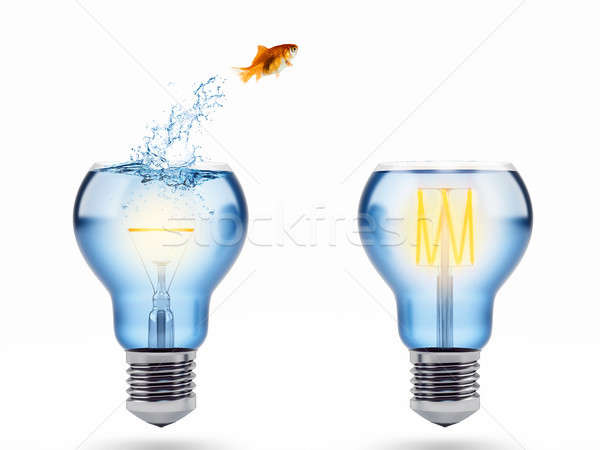 Improvement and progress concept with a jump of goldfish. 3D Rendering Stock photo © alphaspirit
