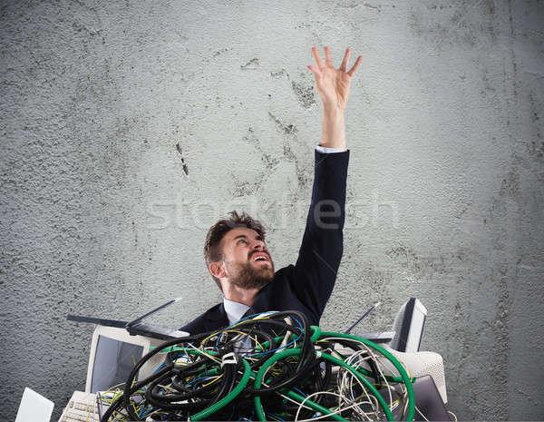 Biznesmen uwięzione kabli stres komputerów komputera Zdjęcia stock © alphaspirit
