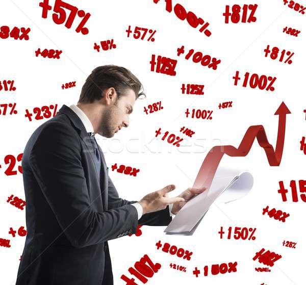 Documents of financial profit Stock photo © alphaspirit