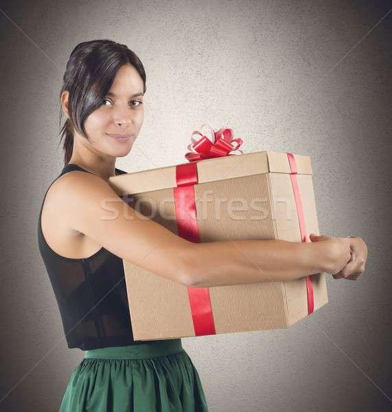 подарок Cute девушки женщину счастливым Сток-фото © alphaspirit