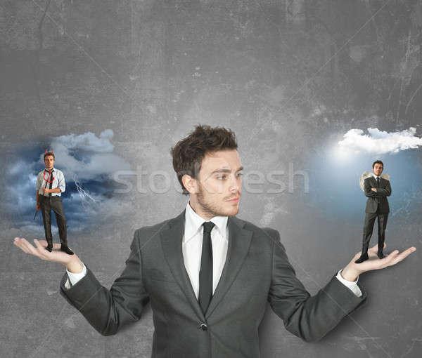 ビジネスマン 悪魔 天使 選ぶ 空 嵐 ストックフォト © alphaspirit