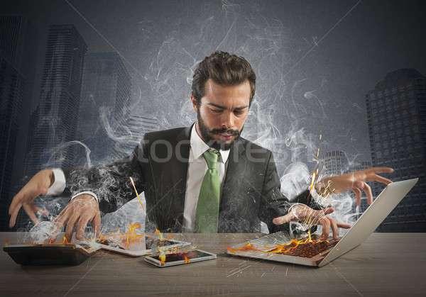 Empresario de trabajo rápidamente muchos Foto stock © alphaspirit