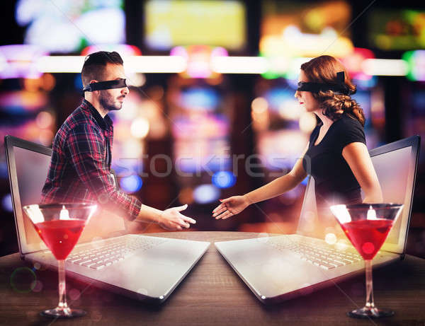 Appointment between boy and a girl who met in chat Stock photo © alphaspirit