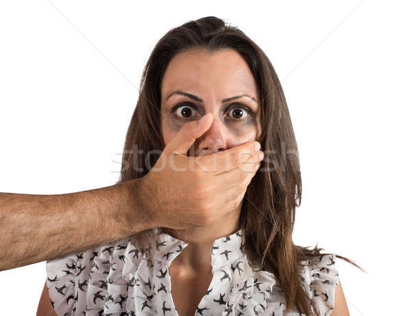 Woman terrified by the violence Stock photo © alphaspirit