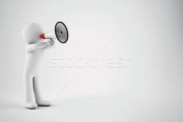 Speak with megaphone. 3D Rendering Stock photo © alphaspirit