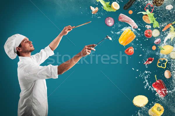 食品 音樂 和諧 廚師 男子 男孩 商業照片 © alphaspirit