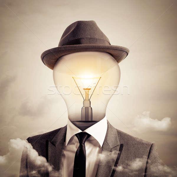 Kafa adam ampul ışık beyin Stok fotoğraf © alphaspirit